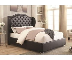 Gorgeous Upholstered Wingback King Size Bed
