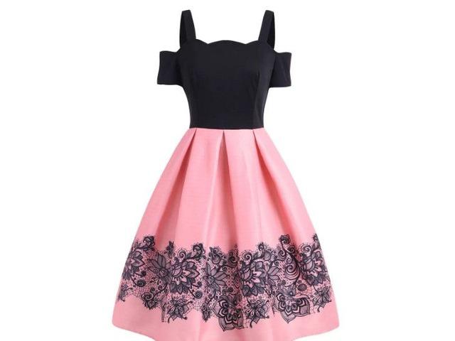 High Waisted Cold Shoulder A Line Dress | free-classifieds-usa.com