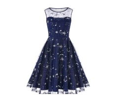 Vintage Mesh Panel Moon Stars Embroidered Flare Dress | free-classifieds-usa.com