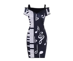 Open Shoulder Piano Notes Print Bodycon Dress | free-classifieds-usa.com