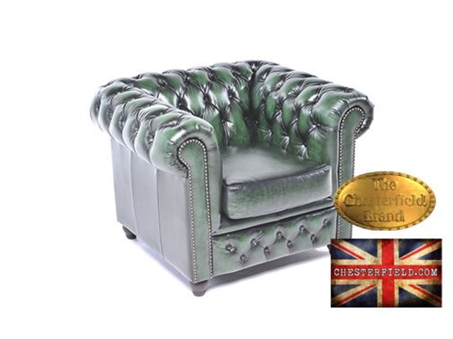 Original Chesterfield wash off green armchair -Real leather-Handmade  | free-classifieds-usa.com