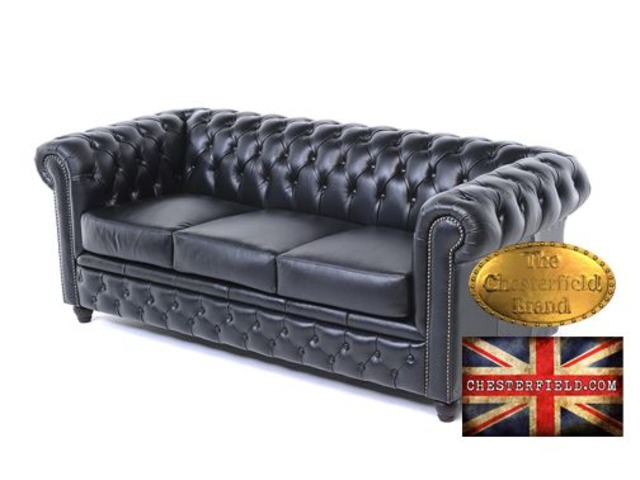 The Original Chesterfield Brand 3 setas sofa-Black Leather -Handmade  | free-classifieds-usa.com