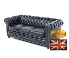 The Original Chesterfield Brand 3 setas sofa-Black Leather -Handmade