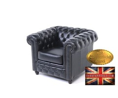The Original Chesterfield Brand armchair-Black leather -Handmade
