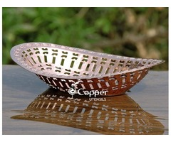 Shop for our Handcrafted Copper Hammered Chapati Basket Holder